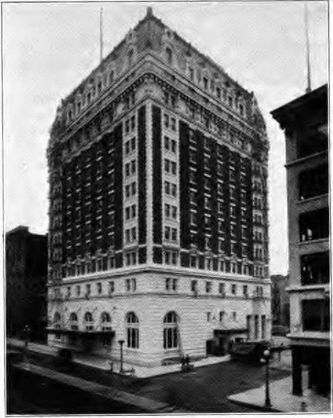 A 1920 balck and white photo of The Benson Hotel Portland Oregon, huanted, spectacular and still going storng.