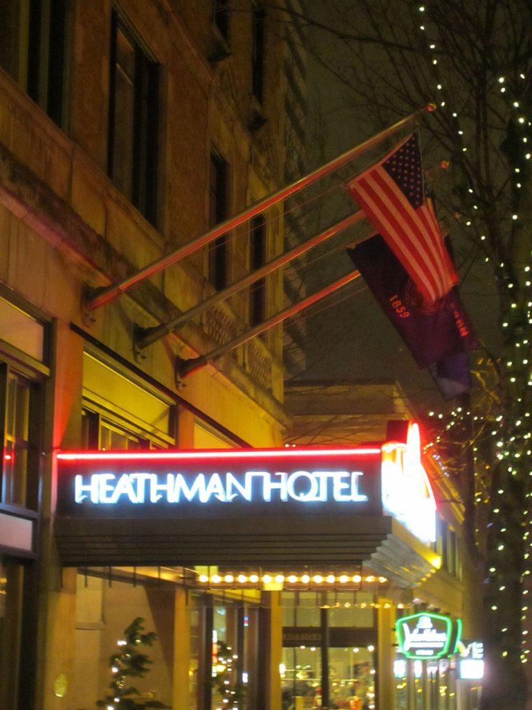 flags above the heathman hotel entrance