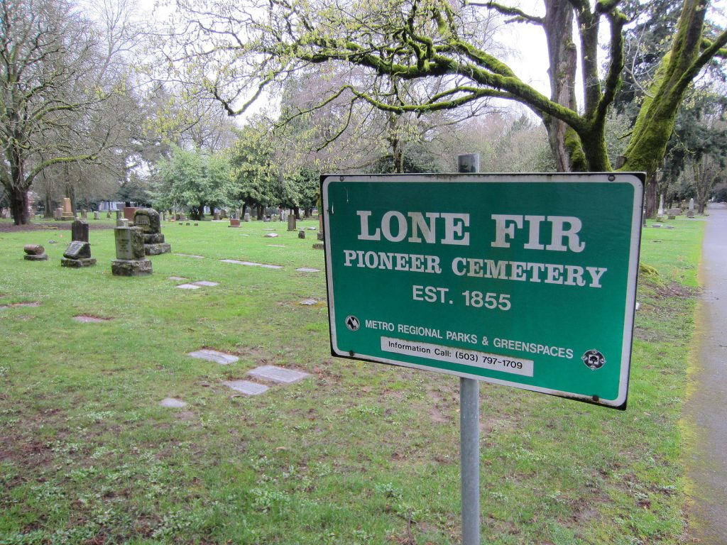 lone fir pioneer cemetery sign