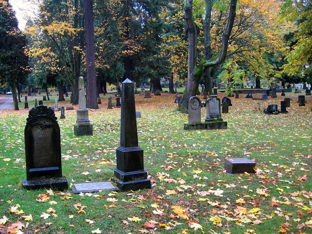 graves and markers, lone fir cemetery