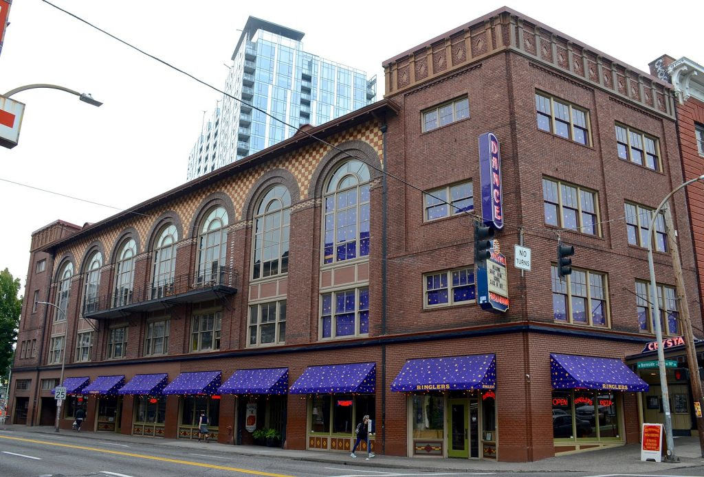 a photo of the crystal ballroom, highlighted with purple