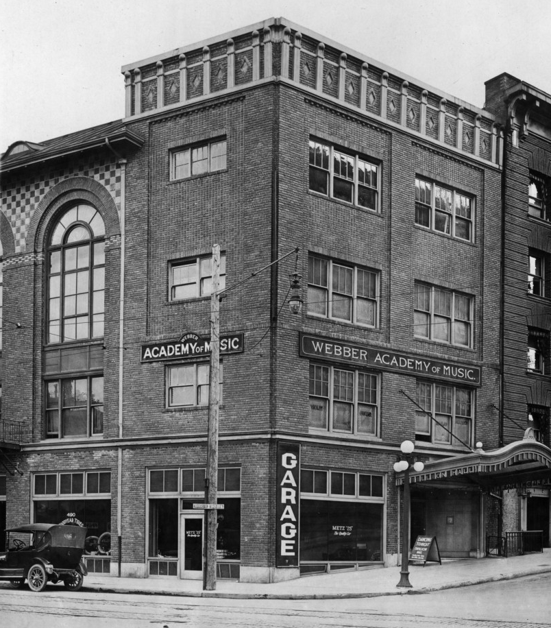 black and white photo of the crystal ballroom