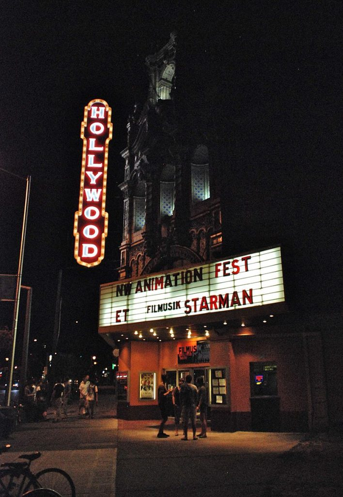 maquee advertising the film starman at the hollywood theatre