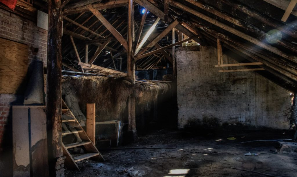 inside a dilapidated building