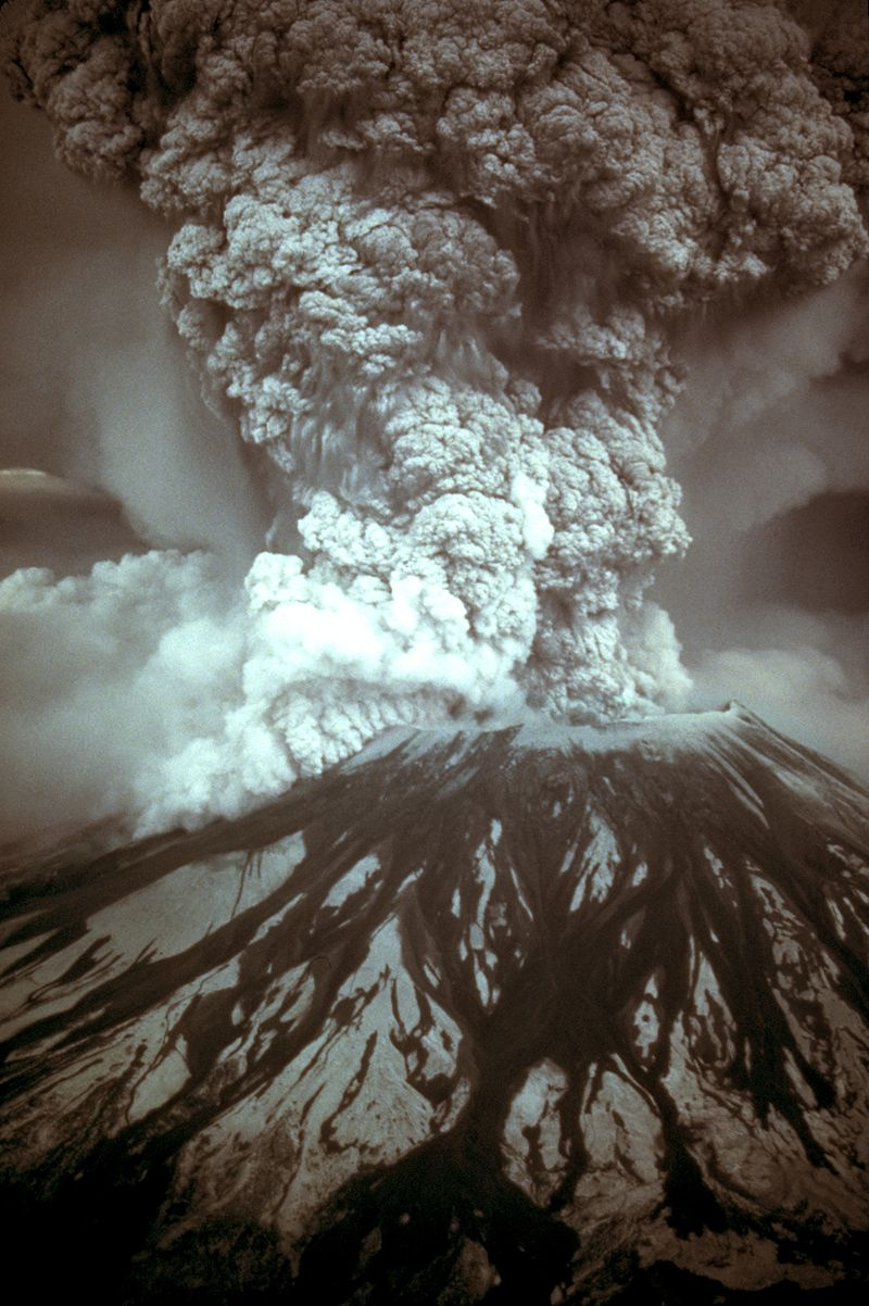 Photograph of the eruption column, May 18, 1980