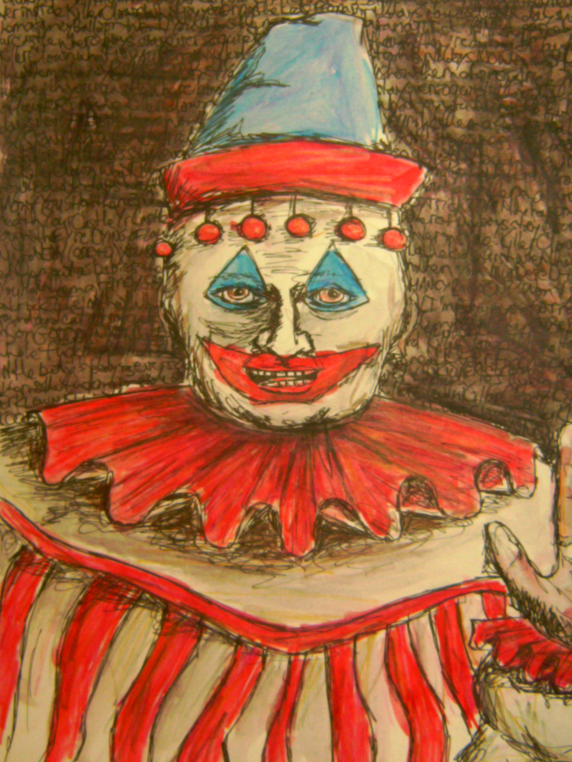 image shows a painting of John Wayne Gacy's character, Pogo the Clown