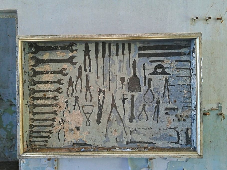 image shows an old toolbox filled with tools